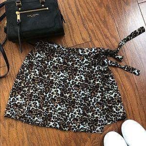 PACSUN Kendall & Kylie Leopard Wrap Skirt S
